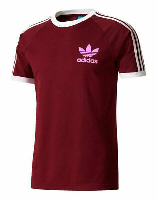 Adidas Originals Mens Trefoil California Tees Crew Neck T Shirt Maroon S M L XL