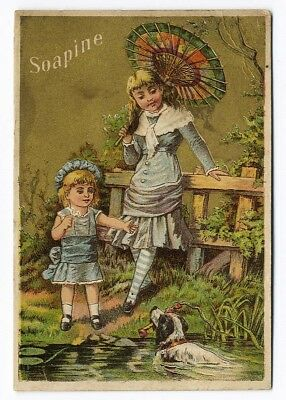 Little Girls Fancy Fashion & Dog SOAPINE KENDALL SOAP Victorian Trade Card 1880s