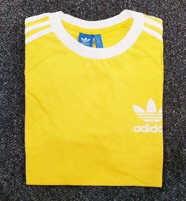 Adidas Originals Mens Trefoil California Tees Crew Neck T Shirt Yellow S M L XL