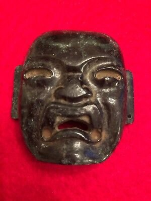"""Old Hand Carved Green Nephrite Jade Stone """"Olmec"""" Face/Mask Pendant"""