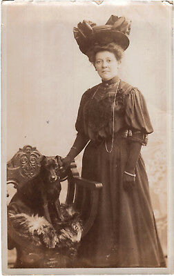 Woman with Dog on Chair, old photo postcard by H. H. Dudley, unposted