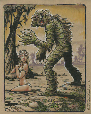 CREATURE and GIRL original color art-Steve Mannion( FEARLESS DAWN, GALAKTIKON)