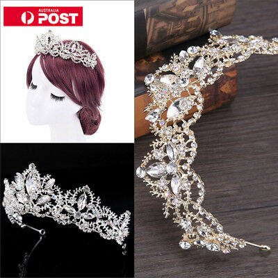 AU Rhinestones Baroque Bridal Crown Tiara Wedding Hair Headdress Flower King PB