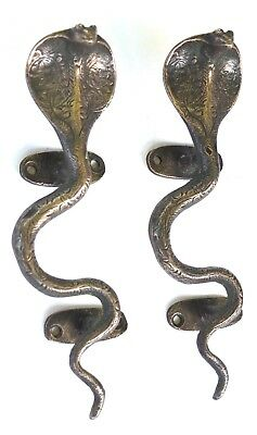 Vintage Antique Style Solid Brass Snake Cobra Pair Of Door Handles Pulls