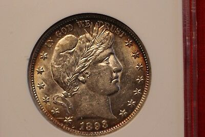 1893 Barber Half Dollar ~ Au Detail In An Old Anacs Holder