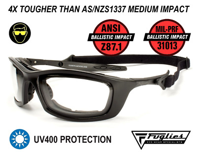 Fuglies ADF6 Clear Ballistic Safety Glasses - ANSI Z87.1 Ballistic Rated