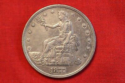 1877 Trade Dollar ~ Xf Details Cleaned