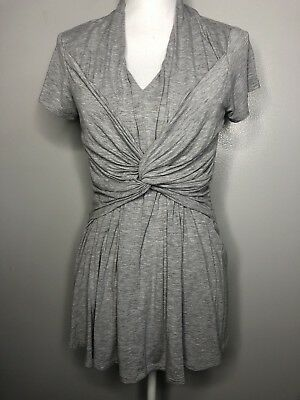 Seraphine Size Small Knot Front Nursing Top Gray Short Sleeve Shirt