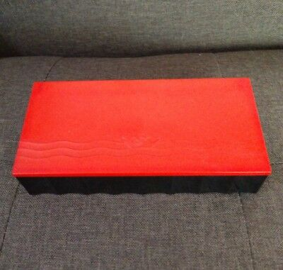 Vintage Art Deco Community Box Cigarette Jewelry Bakelite Celluloid Black Red