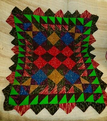 Antique Vintage Knit Triangle Wool ? Blanket Throw Buggy Lap Like Crazy Quilt