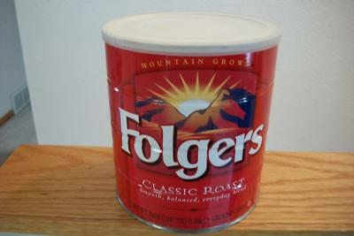 Vintage Folgers Roasted Coffee Tin Can 39 oz Unopened SEALED With Coffee