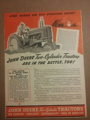 1944 John Deere Two Cylinder tractor Ad