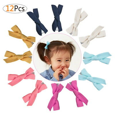 Version Cute Fashion Linen Fabric Multicolored Baby Baby Bow Tie Hairpin 12pcs