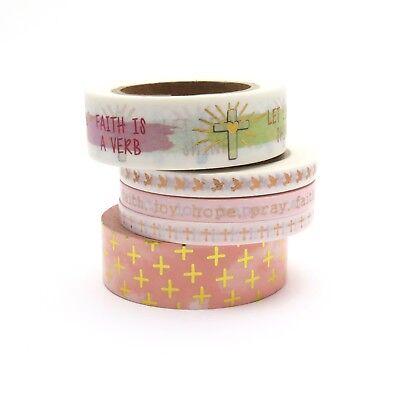 Faith Washi Tape Rose Gold Foil Bird Hope Pray Joy Peach Cross Gilded Set