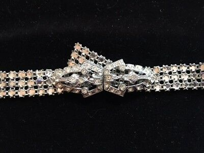 Vintage ART DECO RHINESTONE BELT w/FANCY 2 Piece BUCKLE 34""