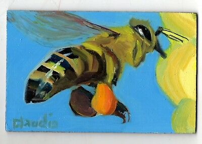 Original Oil Painting insect small works honey BEE blue impressionism art signed