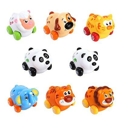 Huile Push & Go Toy Friction Powered Cartoon Animals Toy Cars Set for Toddlers