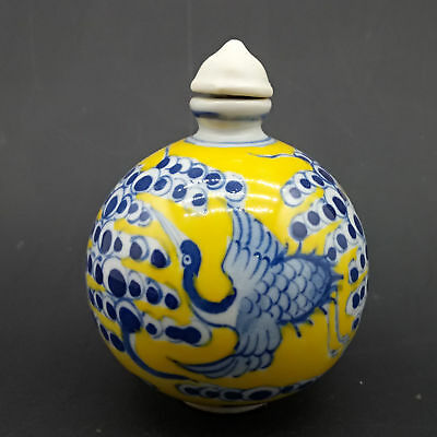 Chinese Handmade Exquisite Crane pattern porcelain snuff bottle    A468