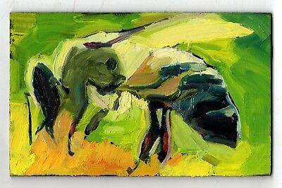 Original Oil Painting insect small works honey BEE green impressionism art sign