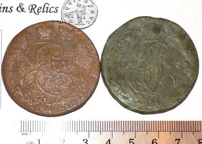 "1776 & 1768 (2 Coins) Russia, 5 Kopeks, Catherine II ""the Great"""