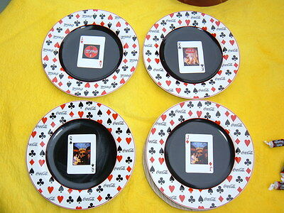"Sakura Coca Cola Playing Cards Salad/Dessert Plates 8 1/4""  A,K,Q,J -Set of 4"
