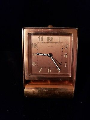 Vintage Jaeger Lecoultre Folding Travel Alarm Clock Swiss Working