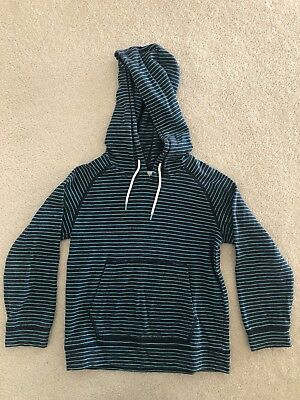 Boys Country Road Navy Green Striped Hoodie Size 6