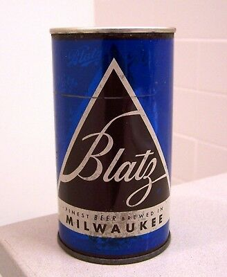 **tough c. 1950s BLATZ blue Christmas series flat top beer can from Milwaukee WI