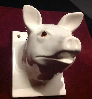 Vintage White Ceramic Pig Head Wall Mount Kitchen Towel Holder Made In Japan