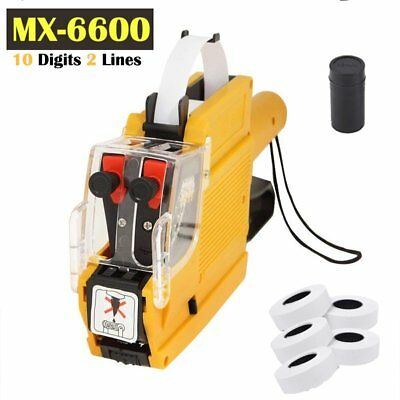 MX-6600 EOS 10 Digits 2 line Price Tag Gun Labeler + 5 Rolls labels + 1 Ink BE