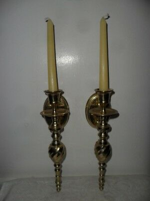 """Vintage Pair Of Solid Brass Fancy Swirl Candle Sconces - 10"""" Long & Heavy- India"""