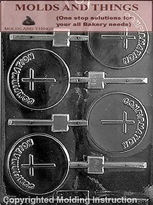 CONFIRMATION LOLLY Chocolate Candy Mould With © Moulding Instruction - Set of 2