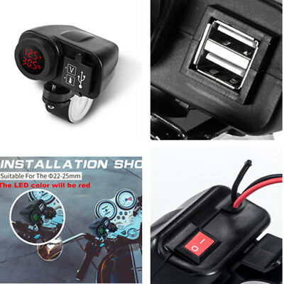 Waterproof 12V Moped Scooter Dual USB Charger Handlebar Voltmeter + Thermometer