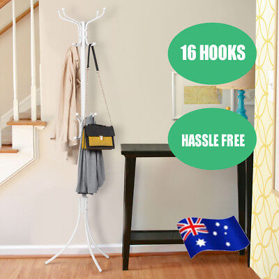 16 Hook Coat Hanger Stand 4Tier Hat Clothes Rack Metal Tree Style Storage Jacket