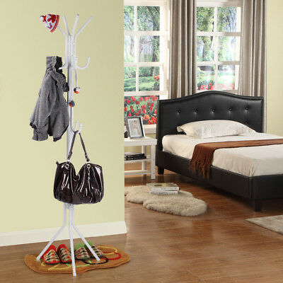 11 Hook Coat Hanger Stand 3-Tier Hat Clothes Rack Metal Tree Style Storage White