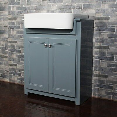 Traditional Bathroom Floor Standing Basin Cabinet Vanity Unit Midnight Grey