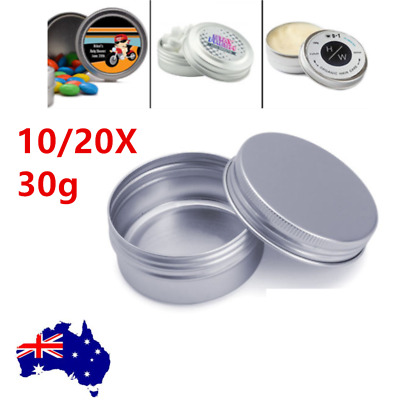 30/50G Aluminium Empty Cosmetic Pot Lip Balm Jar Tin Container Silver Box 10pcs