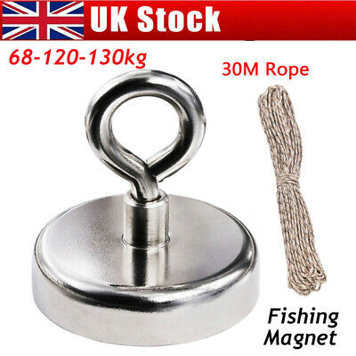 130kg Pull Fishing Treasure Hunting Neodymium Recovery Magnet Hook +30Metre Rope