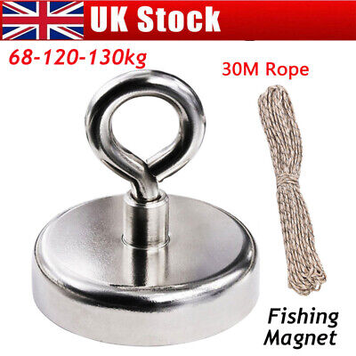 Strong Pull Fishing Treasure Hunting Neodymium Recovery Magnet Hook+30Metre Rope