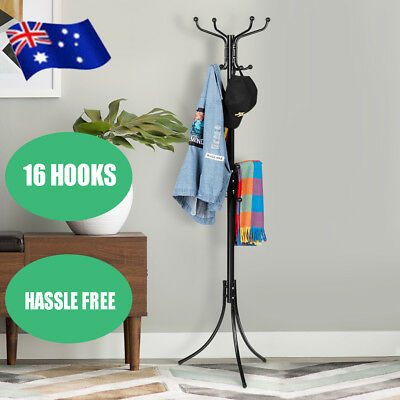 16 Hook Coat Hanger Metal Rack Clothes Tree Stand Organizer Umbrella Hat Holder