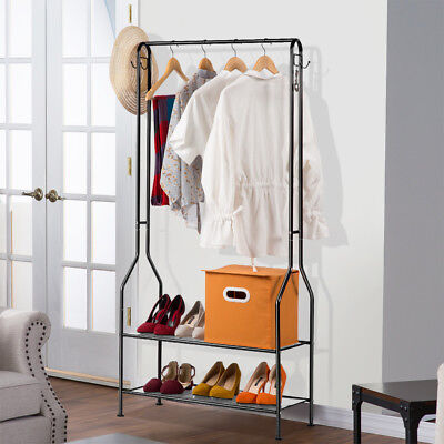 LANGRIA 2-Tier Home Entryway Hall Coat Rack Organiser Storage Shoe Bench Stand