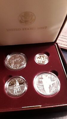 Genuine Us Mint 1995 Gold & Silver 4-Coin Complete Proof Set Atlanta Olympic Coa