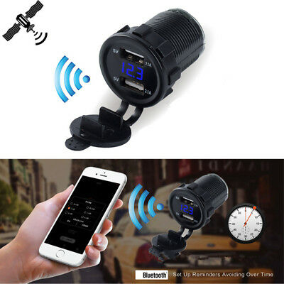 Dual USB Car Charger GPS Locator Tracking Device Digital Voltmeter Bluetooth App