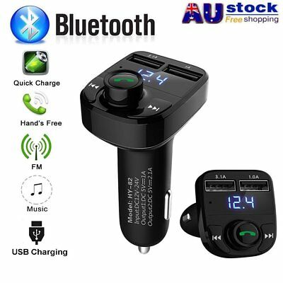 Bluetooth Wireless Car Kit FM Transmitter Adapter Dual USB Charger MP3 Player