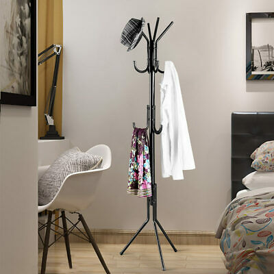 Langria 16 Hook Metal Coat Hanger Rack Clothes Tree Stand Umbrella Hat Holder AU