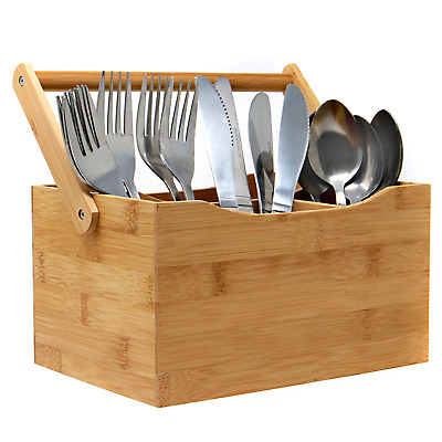 Bamboo Utensil Cutlery Holder Organising Compartment Box Carry Handle M&W