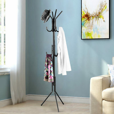 LANGRIA 11 Hook Coat Hanger Stand 3-Tier Clothes Rack Metal Tree Style Storage