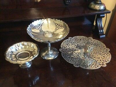 3 Vintage Silver Plated footed Cake Sweets Stands Oneida and England