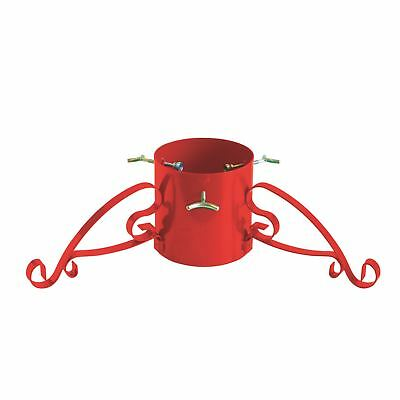 Metal Christmas Tree Stand for Real Xmas Trees Traditional Red Wrought Iron