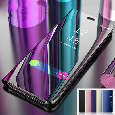 For Samsung Galaxy Note 9 S9 S8 Phone Case Leather Clear View Mirror Flip Covers